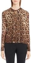 Dolce & Gabbana Leopard Print Silk & Cashmere Cardigan