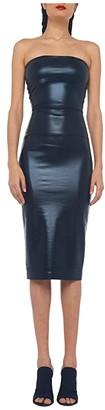 KAMALIKULTURE by Norma Kamali Strapless Dress To Knee (Black Foil) Women's Clothing