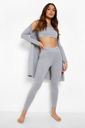 boohoo 3 Piece Legging & dressing gown Lounge Set