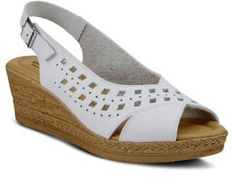 Spring Step Adjustable Leather Wedge Heel Sandals - Goosey