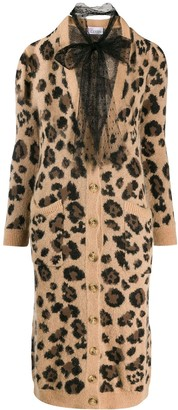 RED Valentino leopard-print long cardigan