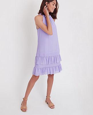 Ann Taylor Petite Flounce Halter Dress