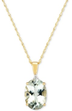 "Macy's Prasiolite (4-1/2 ct. t.w.) & Diamond Accent 18"" Pendant Necklace in 14k Gold"