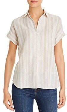 BeachLunchLounge Striped Button-Front Top