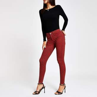 River Island Womens Red Molly leopard print jeggings