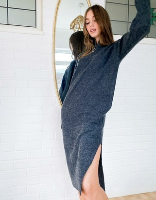 Noisy May knitted jumper dress with half zip in dark grey