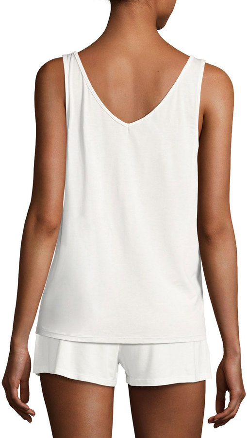 Cosabella Bacall Two-Tone Lace-Inset Lounge Camisole, Ivory