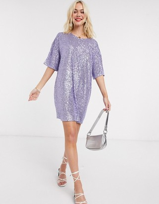 Asos DESIGN sequin mini dress with short sleeve in lilac