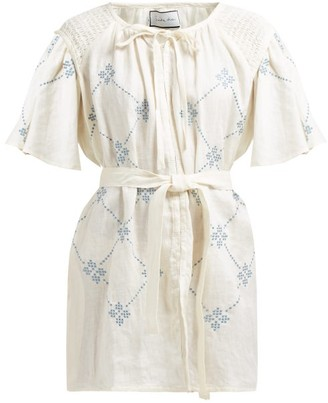 Innika Choo Geometric-embroidered Linen Mini Dress - Womens - Cream