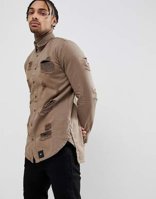 Sixth June muscle distressed shirt in khaki-Green