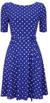 Wallis Petite Blue Half Sleeve Fit and Flare Dress