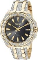 Seiko Men's Crystal Solar Japanese-Quartz Watch with Two-Tone-Stainless-Steel Strap 21 (Model: SNE458)