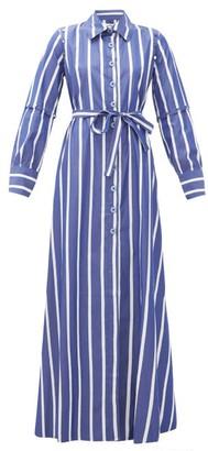 Evi Grintela Forget Me Not Striped Cotton Shirtdress - Womens - Blue Stripe