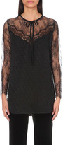 Sandro Carry lace and woven blouse