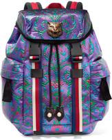 Gucci Stripe-trimmed Embellished Metallic Brocade Backpack