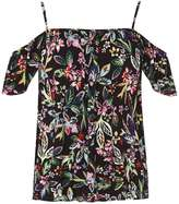 Black Tropical Floral Cold Shoulder Top