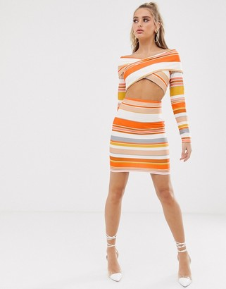 Asos Design ASOS stripe bandage cut out bodycon mini dress