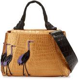 Nancy Gonzalez Crocodile Tie Top-Handle Bag with Bird Appliques, Gold