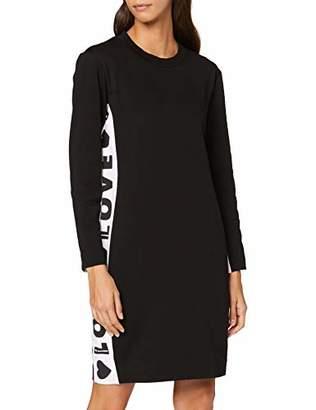 Love Moschino Women's Long Sleeve Fleece Dress_Logo B-Sides Tape Print,10 (Size: )