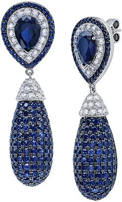 Crislu Midnight Bulb Platinum Plated Cz Drop Earrings