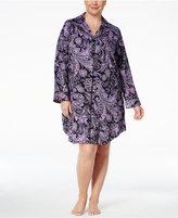 Lauren Ralph Lauren Plus Size Notch Collar Printed Sleepshirt