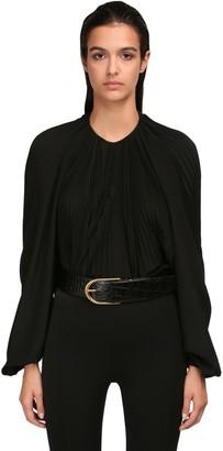 Saint Laurent Pleated Silk Crepe De Chine Shirt