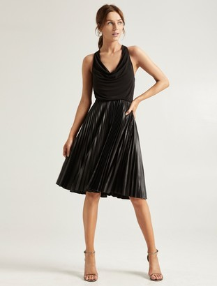 Halston Pleated Chintz Dress