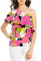 Trina Turk Kahe One-Shoulder Printed Ruffle Top