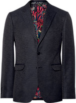 Etro - Black Slim-fit Slub Silk Blazer