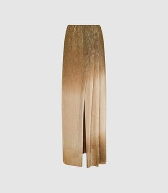 Reiss Emmeline - Metallic Maxi Skirt in Gold