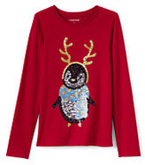 Lands' End Girls Roll-Neck Graphic Knit Tee-Sequin Penguin
