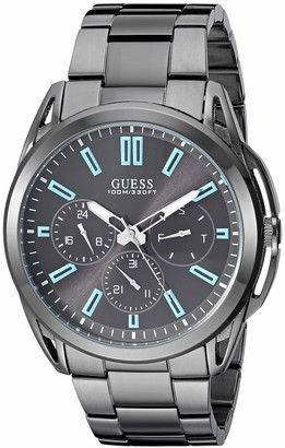 GUESS Gunmetal Stainless Steel Bracelet Watch with Day Date + 24 Hour Military/Int'l Time. Gunmetal (Model: U1176G1)