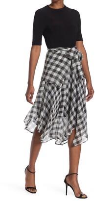 Julia Jordan Elbow Length Gingham Dress
