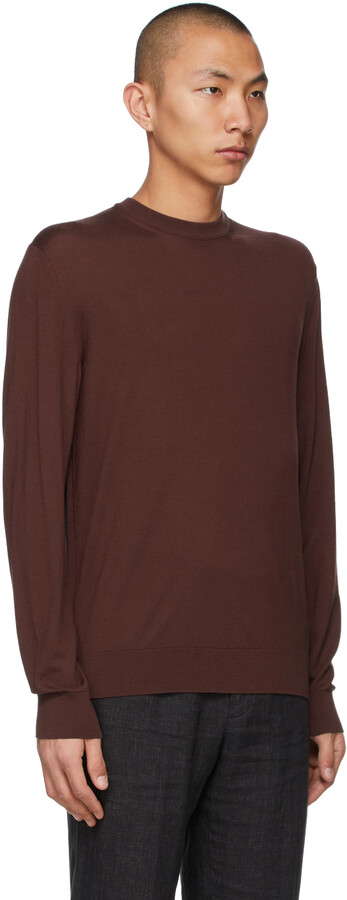 Thumbnail for your product : Ermenegildo Zegna Couture Burgundy Centoventimila Wool Sweater