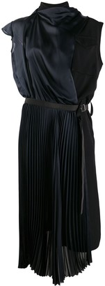 Sacai Pleated Drape Midi Dress