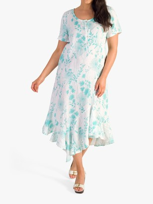 Chesca Button Placket Floral Linen Dress, White/Jade