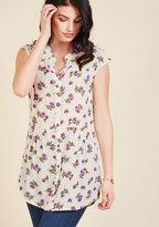 Well Within Your Peach Tunic in Ivory Blossom in 2X