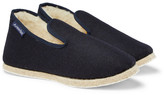 Armor Lux Shearling-lined Boiled Wool Slippers - Navy