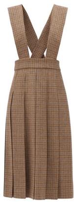 Miu Miu Houndstooth Wool Pinafore Dress - Khaki