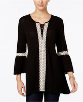 Style&Co. Style & Co Lace-Trim Lantern-Sleeve Tunic, Only at Macy's