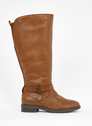 Evans WIDE FIT Brown Buckle High Leg Boots