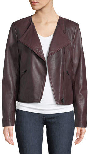 c7b1cf4e9 Leather Collection Asymmetric-Zip Lamb Leather Moto Jacket