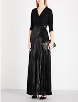 Diane von Furstenberg Heavyn jersey and metallic wrap gown