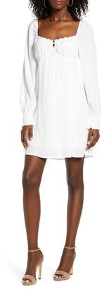 Rowa Smocked Long Sleeve Minidress