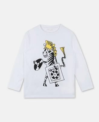 Stella McCartney Kids Zebra Dj Cotton T-Shirt, Men's