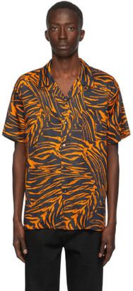 Double Rainbouu Black and Orange Party Animal Hawaiian Short Sleeve Shirt