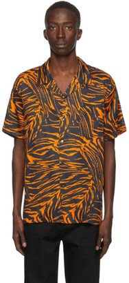 Double Rainbouu Black and Orange Tiger Stripes Short Sleeve Shirt
