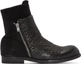 Officine Creative Black Leather & Suede Bubble Boots