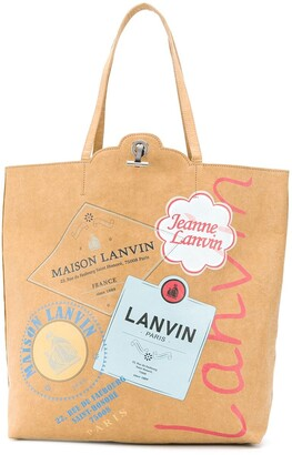 Lanvin Grocery graphic print tote bag