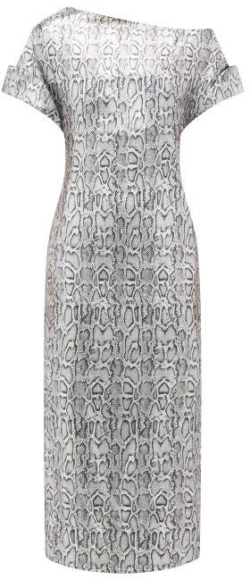 Christopher Kane Asymmetric Snake-print Sequinned Dress - Womens - Silver
